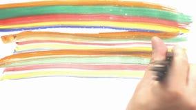 Kulöra målarfärgborstar för regnbåge lager videofilmer