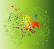 Kulöra målarfärgfärgstänk som isoleras på grön bakgrund Arkivfoton