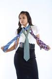 kulöra mång- slipsar tre för affärskvinna Royaltyfri Fotografi