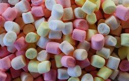 Kulöra marshmallower för pastell som bakgrund Arkivbild