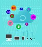 Kulöra molnteknologier - Infographics Illustra stock illustrationer