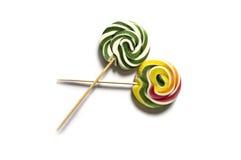 Kulöra och mönstrade godisar, roliga färgrika godisar för barn älskar skriftliga färgade och mönstrad godisar för socker, gyckel  Royaltyfri Fotografi