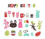 Kulöra påskklistermärkear, klistermärkear Attributen av festmåltiden av påsken: ägg blommor, kaniner, fester, sötsaker stock illustrationer