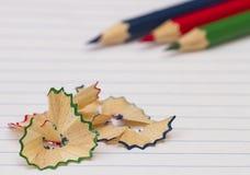 kulöra paper blyertspennor Royaltyfri Fotografi