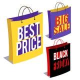 Kulöra pappers- shoppingpåsar Arkivbild