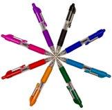 kulöra pennor för cirkel Royaltyfria Bilder