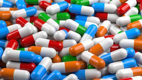 Kulöra pills Fotografering för Bildbyråer