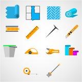 Kulöra plana symboler för att arbeta med linoleum Arkivbilder
