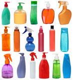 Kulöra plast-flaskor Arkivfoto