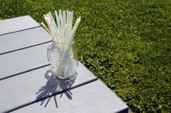 Kulöra plast- sugrör i den glass kruset Fotografering för Bildbyråer