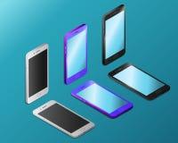 Kulöra realistiska smartphones med tomma skärmar i isometry stock illustrationer