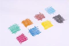 Kulöra rektanglar på ett ark av papper Arkivfoton