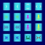 Kulöra rengöringsduksymboler på ett ljus - blå knapp arkivfoton