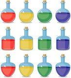 Kulöra små flaskor vektor illustrationer