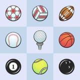 Kulöra sportbollar Arkivfoto