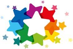 Kulöra stjärnor för regnbåge Arkivfoto