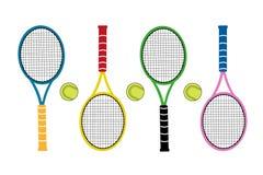 Kulöra stora tennisracket med tennisbollen aktiva sportar Arkivbilder