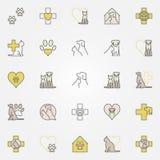 Kulöra symboler för veterinär- medicin royaltyfri illustrationer