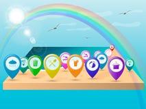 Kulöra symbolspekare på stranden, etiketter för översikten, beteckningen av viktiga ställen på stället av vilar vektorillustra vektor illustrationer