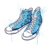 kulöra tecknade handgymnastikskor stock illustrationer