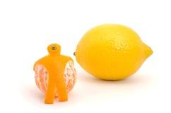 kulöra tecknade orange blyertspennor för handcitronlivstid fortfarande Arkivbilder