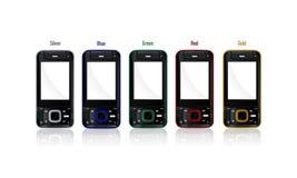 kulöra telefoner Fotografering för Bildbyråer