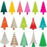 kulöra trees för jul stock illustrationer