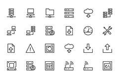 Kulöra vektorsymboler 1 för databas och för server Arkivbilder