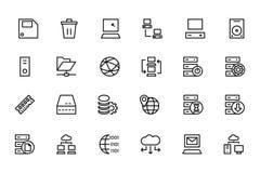 Kulöra vektorsymboler 2 för databas och för server Arkivbilder