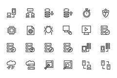 Kulöra vektorsymboler 4 för databas och för server Royaltyfri Bild