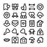 Kulöra vektorsymboler 5 för förälskelse & för romans Arkivbilder