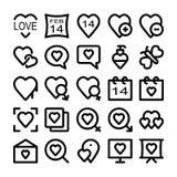 Kulöra vektorsymboler 4 för förälskelse & för romans Arkivbild