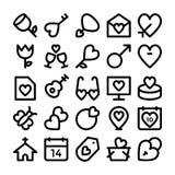 Kulöra vektorsymboler 9 för förälskelse & för romans Arkivfoton