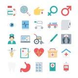 Kulöra vektorsymboler för läkarundersökning och för hälsa Arkivbild