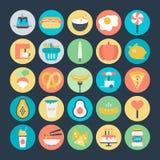 Kulöra vektorsymboler 5 för mat vektor illustrationer