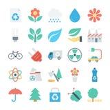 Kulöra vektorsymboler 2 för natur och för ekologi royaltyfri illustrationer