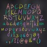 Kulört alfabet för vektor i krita royaltyfri illustrationer