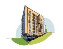 Kulört arkitektoniskt skissar vektorn Arkivbilder