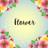 Kulört färgrikt blommakort stock illustrationer