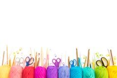 kulört garn för bollar ovanför sikt banret colors kurvillustrationingrepp ingen regnbågevektor vita All colo Royaltyfri Foto