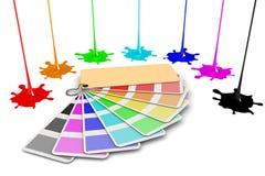 Kulört måla färgstänk som isoleras på vitbakgrund stock illustrationer