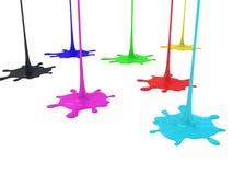 Kulört måla färgstänk som isoleras på vitbakgrund vektor illustrationer