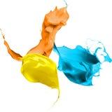 Kulört måla färgstänk som isoleras på vitbakgrund Royaltyfria Bilder