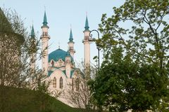 Kul谢里夫清真寺在喀山克里姆林宫,俄罗斯 免版税库存照片