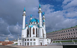 Kul谢里夫清真寺在喀山克里姆林宫 免版税库存图片