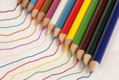 kulöra linjer blyertspennor fotografering för bildbyråer