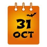 Kul?r symbol f?r Oktober 31 st-kalender halloween ocks? vektor f?r coreldrawillustration stock illustrationer