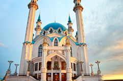 Kul Sharif. The entrance to the Qolsharif (Kul Sharif) Mosque in the Kazan Kremlin, on which is written the name in the Tatar language. Sunset. Tatarstan, Russia royalty free stock images