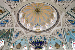 The Kul Sharif Mosque. Interior, it is a one of the largest mosques in Russia.  is located in Kazan city in Russia royalty free stock photography
