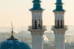 Kul Sharif mosque. Kazan city,. Image of Kul Sharif mosque. Kazan city, Tatarstan, Russia. Beautiful and sophisticated mosque in sunset light. Minarets looking Stock Photo